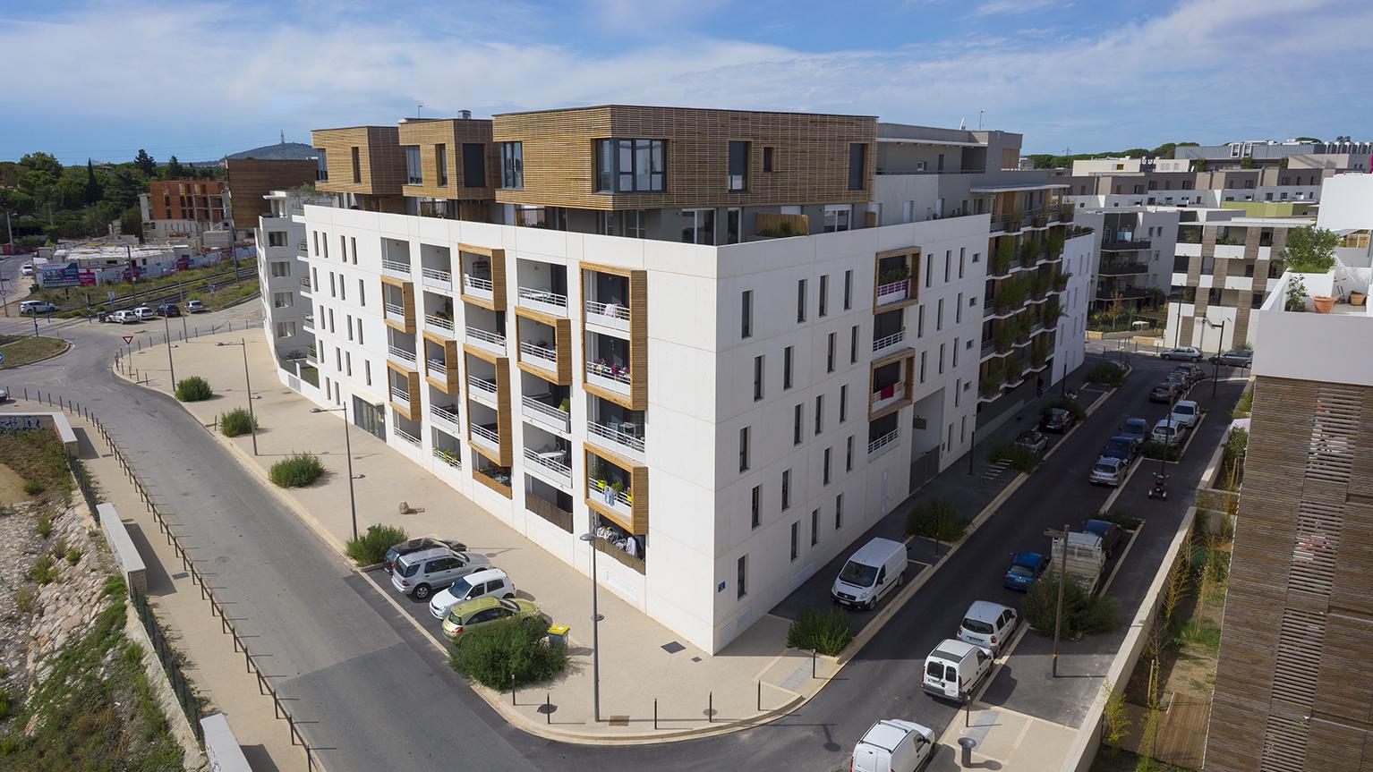 Photo aérienne architecture les Grisettes Montpellier