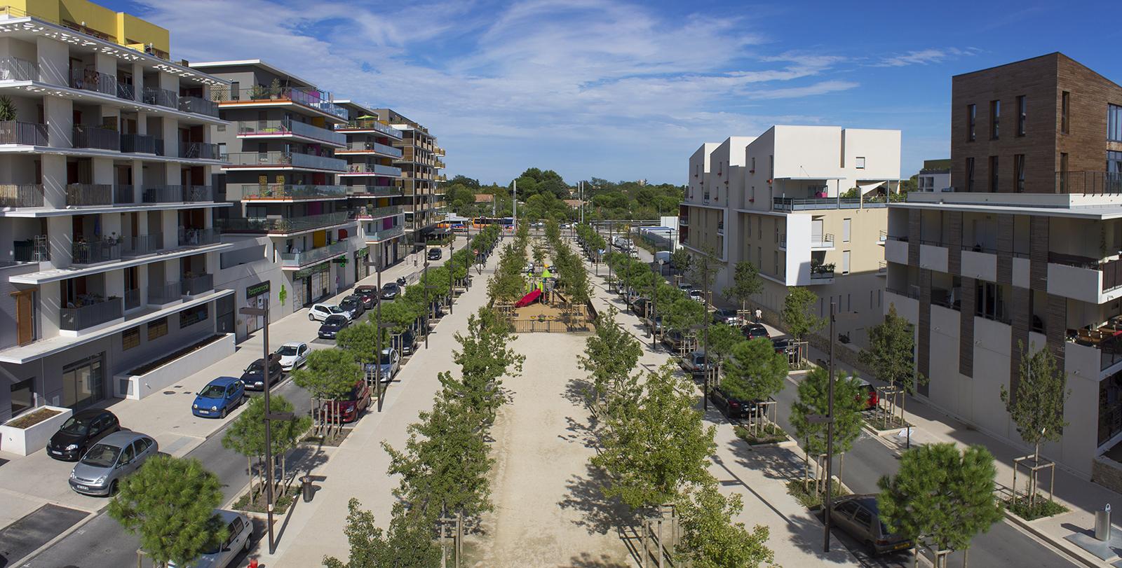 Photographie aérienne par drone du quartier les grisettes à Montpellier.