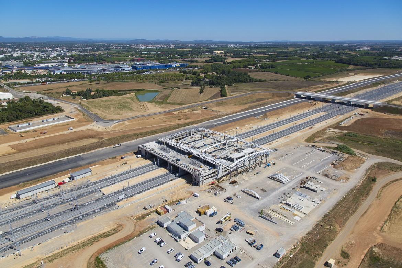 Photographie aérienne de la future gare de Montpellier