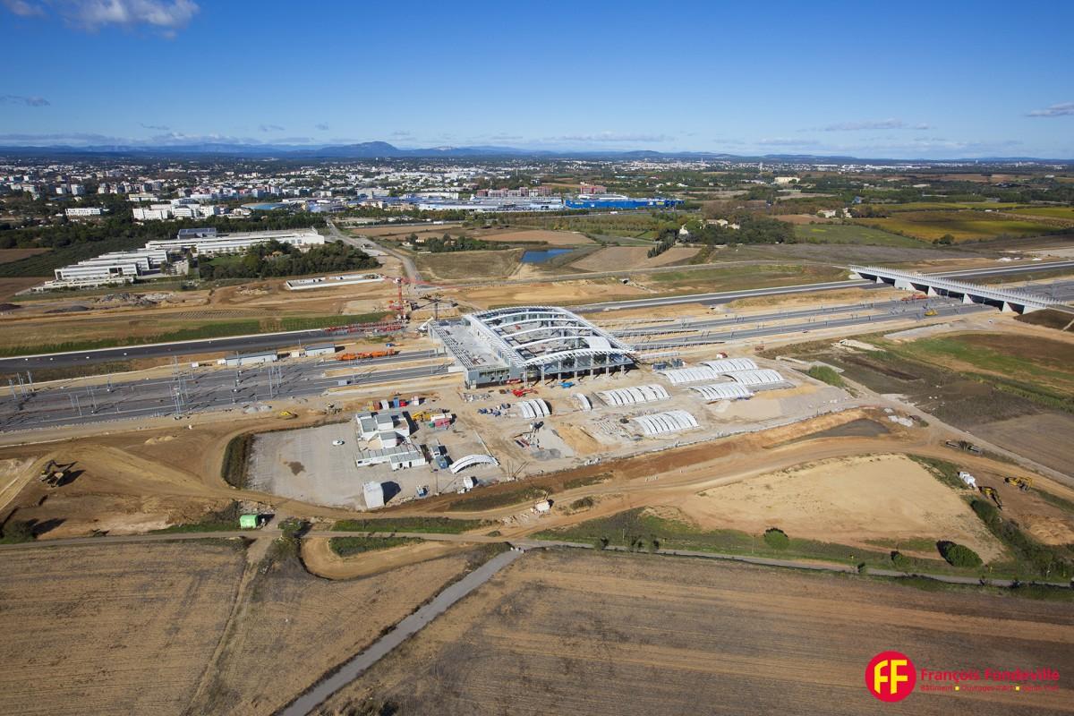 photographie aérienne gare de la Mogère Montpellier